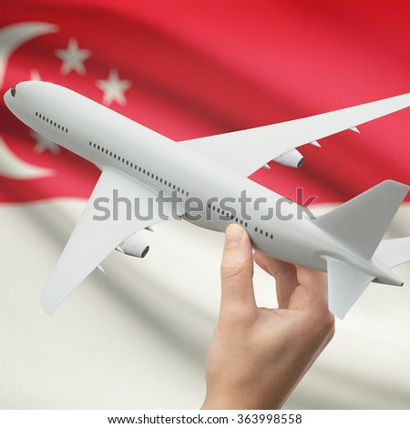 Airplane in hand with national flag on background series - Singapore - stock photo