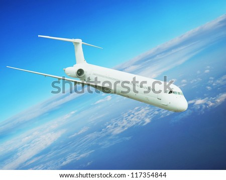 Airplane in the blue  sky. Passenger aircraft. - stock photo