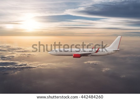 Airplane in the cloudy sky, Airliner, aircraft