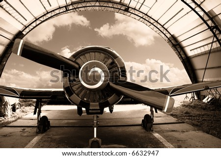 Airplane in the hangar