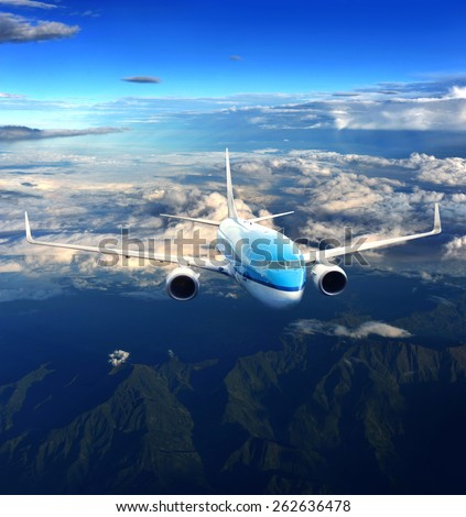 Airplane in the sky - stock photo