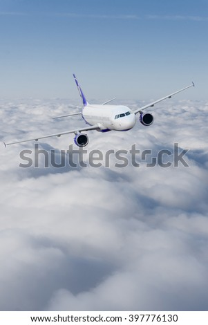 Airplane in the sky.  Passenger Airliner. Aircraft - stock photo