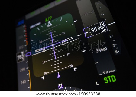 Airplane Instruments primary flight display  - stock photo