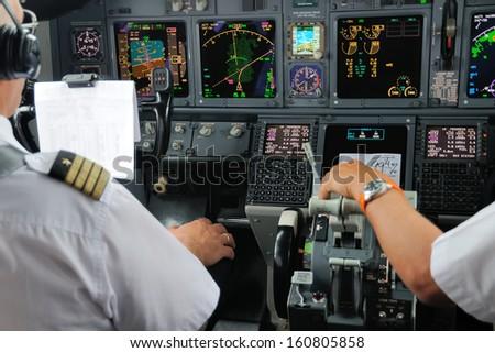 Airplane Instruments primary flight display - stock photo