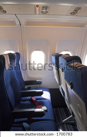 airplane interior - stock photo