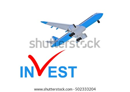 airplane invest - 3d rendering
