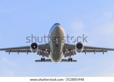 Airplane is landing on the airport, Suvarnabhumi Airport, Thailand - stock photo