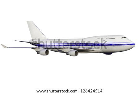 airplane isolated on white background.  passenger airplane in flight. nobody - stock photo
