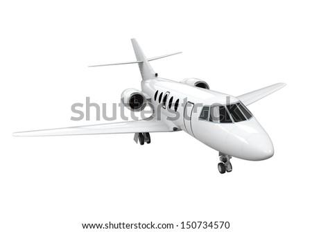 Airplane Jet Isolated - stock photo