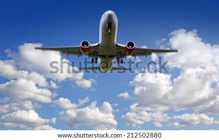 Airplane landing - stock photo