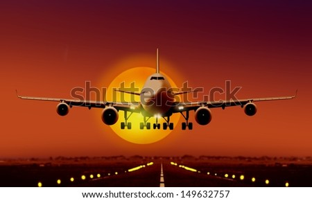 Airplane Landing during sunset