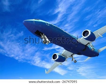 Airplane landing, isolated on white - stock photo