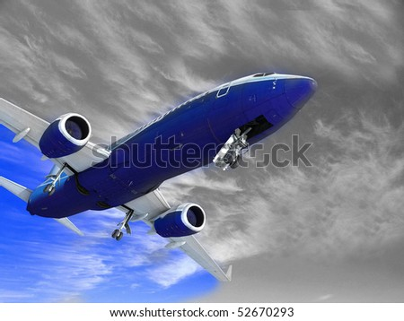 Airplane landing, isolated on white