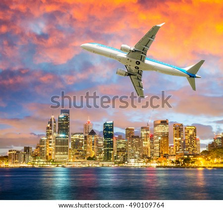 Airplane leaving Sydney. Travel concept.
