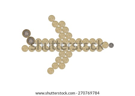 airplane made out of one pound coins - stock photo
