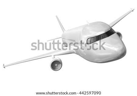 Airplane on a white background 3d rendering. - stock photo