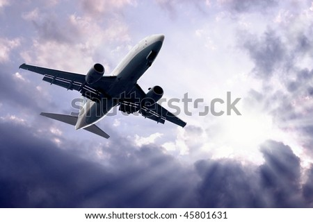 Airplane on blue sky