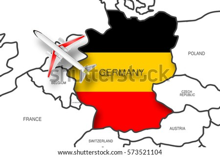 Airplane On Germany Map Stock Illustration Shutterstock - Germany map clipart