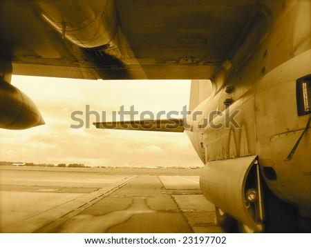 Airplane on tarmac (impression) - stock photo