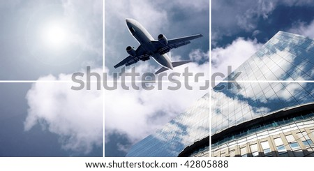 Airplane on  the blue sky - stock photo
