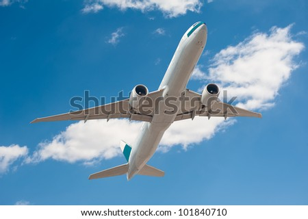 Airplane on the sky background