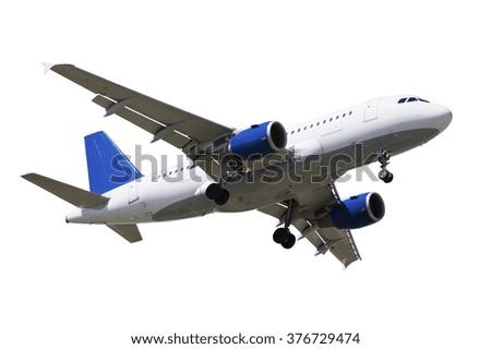 Airplane on white background - stock photo