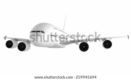 airplane on white background with path - stock photo