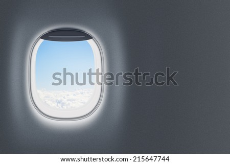 Airplane or jet window on wall with blank space - stock photo