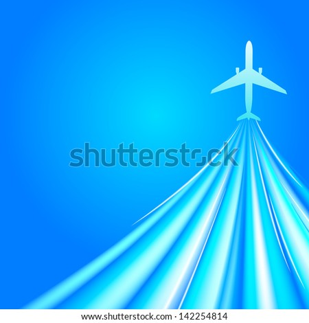 Airplane over blue background.  illustration - stock photo
