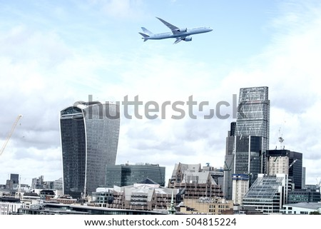 Airplane over London.