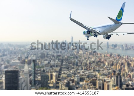 Airplane over New York City.