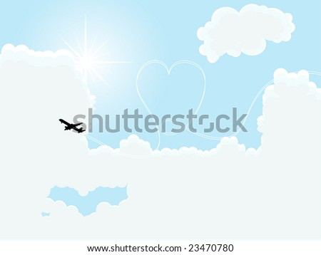 Airplane painting the heart on the sky - stock photo
