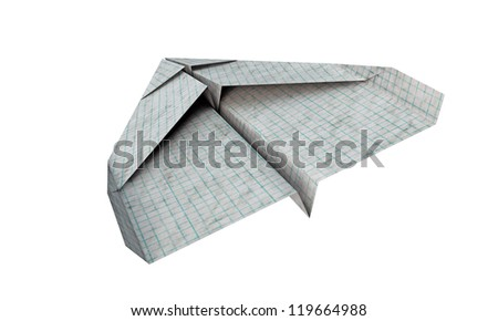 airplane paper isolated on white background - stock photo