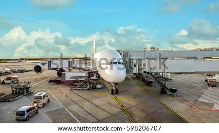 Airplane parked at an airport - Stock Image