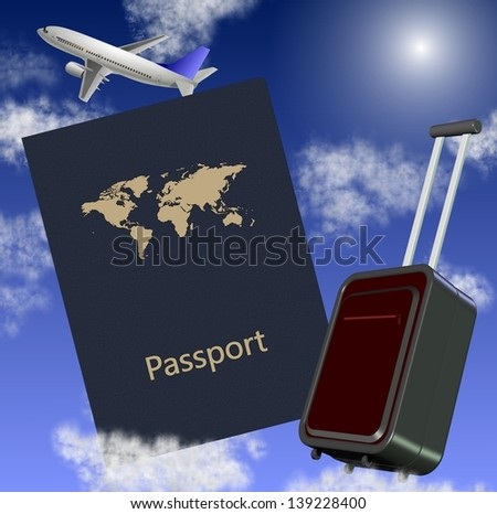 Airplane passport and suitcase with a blue sky in the background / Travel around the world - stock photo