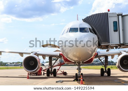 Airplane prepare for fight at the air port - stock photo