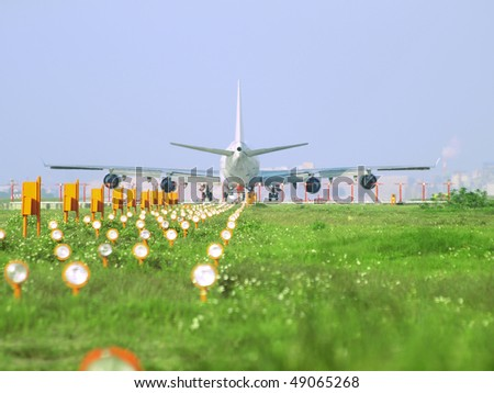 Airplane ready for take off - stock photo