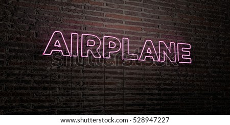 AIRPLANE -Realistic Neon Sign on Brick Wall background - 3D rendered royalty free stock image. Can be used for online banner ads and direct mailers.