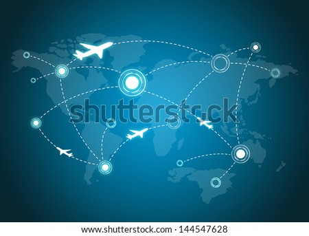 Airplane Routes on world map - stock photo