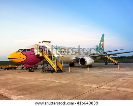 Airplane-serviced by Nok Air.This photo was taken at Nakhonsithammarat airport before depart to Donmuang airport,on April 1st,2016