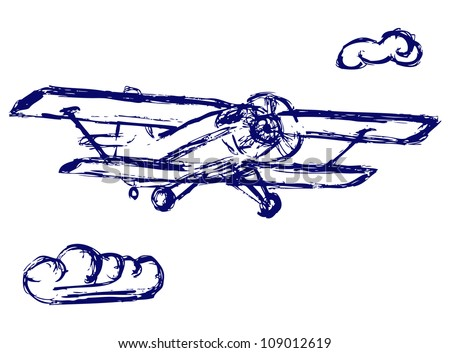 Airplane Sketch Raster Stock Illustration 109012619