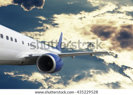 Airplane sky and cloud Manipulation with Airplane. Photo manipulation. business concept.