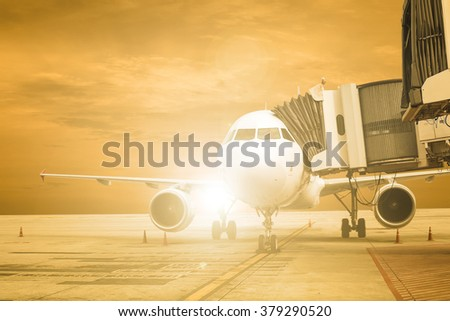 Airplane stop for support service and transfer passenger with twilight time 