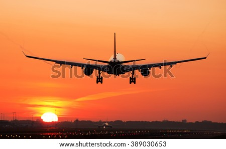 Airplane sunrise landing.