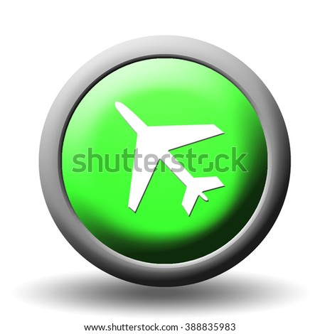 Airplane Symbol on a green 3D Button Render