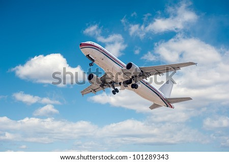 Airplane take off from the airport