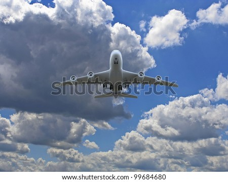 Airplane takes off over ground with clouds in the sky