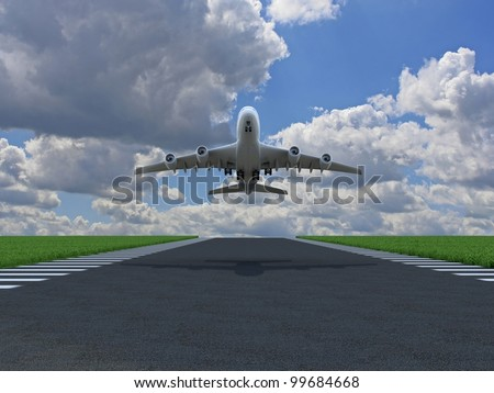 Airplane takes off over ground with grass on runway - stock photo