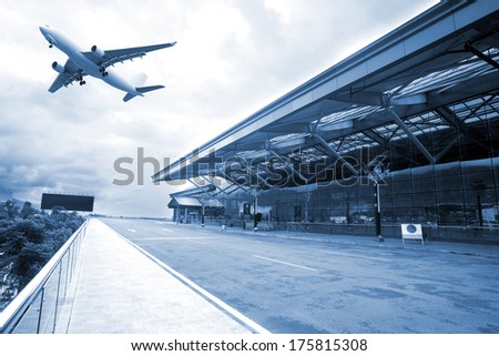 airplane taking off from the airport - stock photo