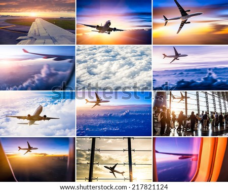 airplane theme collage - stock photo